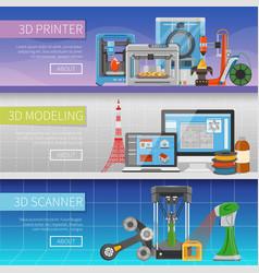 3d printing horizontal banners vector