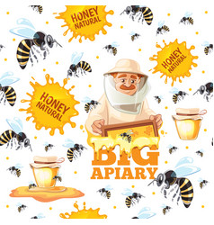 apiary pattern honey bees and beekeepers in mask vector image