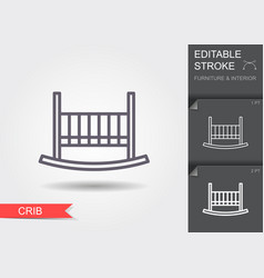 babedcrib line icon with editable stroke with vector image