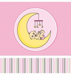 Baby girl birth announcement card vector