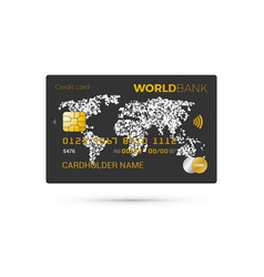 black credit card with world map vector image