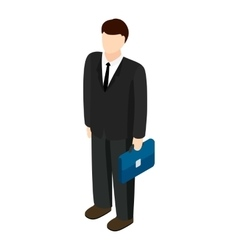 Businessman holding briefcase icon vector image