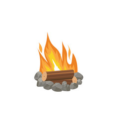cartoon bonfire or tourist summer campfire flame vector image