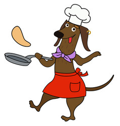 Cartoon dachshund chef cooks pancakes vector