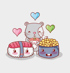 cat and japan food kawaii vector image
