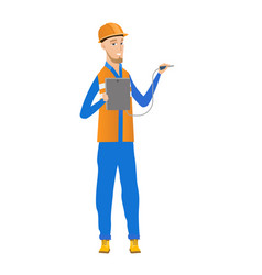 caucasian electrician with electrical equipment vector image