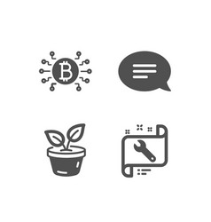 Chat bitcoin system and leaves icons spanner vector