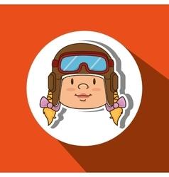 child with pilot cap design vector image