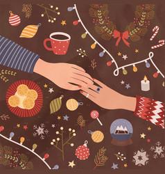 christmas greeting card or postcard template vector image