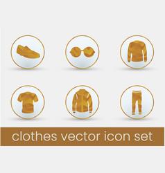 clothes icon set orange vector image