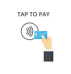 contactless payment icon tap to pay concept vector image