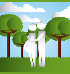 couple pregnancy in the park family protection vector image