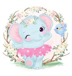 Cute baby elephant dancing vector