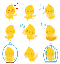 cute chicken chracters in various situations set vector image