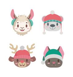 cute christmas animal portraits vector image