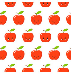 cute flat design cartoon apple kawaii seamless vector image