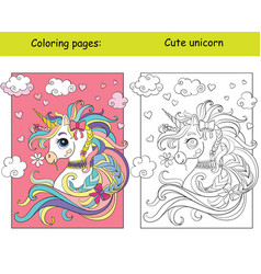 cute unicorn portrait with hearts coloring book vector image