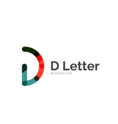 D letter logo minimal line design vector