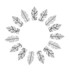 Drawing feathers in circle vector