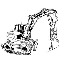Excavator machine in work vector