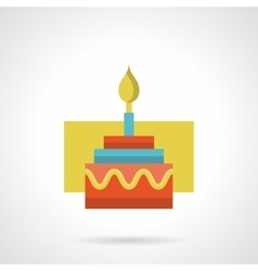 Festive cake with candle flat color icon vector image