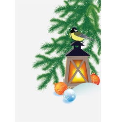 Fir branches flashlight and tit vector