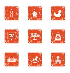 fitness babe icons set grunge style vector image