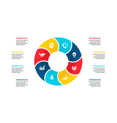 flat circle element for infographic with 8 vector image