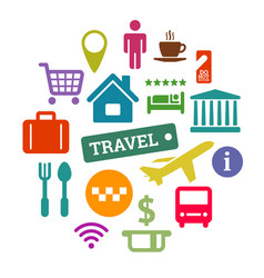 flat travel related icons set vector image
