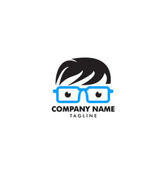 geek head logo design vector image