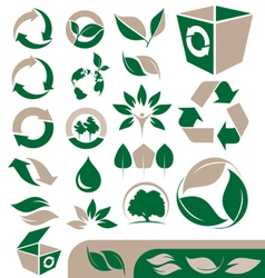 Green and recycling icons set vector image vector image