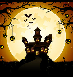 Halloween haunted castle with pumpkins hanging on vector