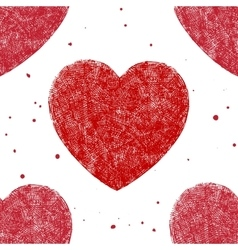 hand drawn hearts red seamless pattern vector image