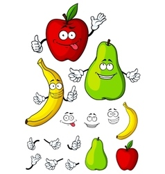 Happy cartoon pear apple and banana fruits vector