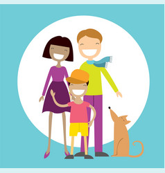 happy family members parents their son and a dog vector image