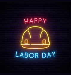 happy labor day neon helmet construction icon vector image