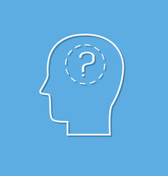 human head and question mark cut from white paper vector image