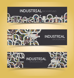 Industrial machinery horizontal banners vector