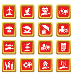 Insurance icons set red vector