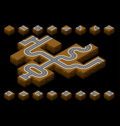 Isometric road or highway whole and parts to vector