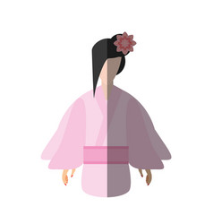 Japanese woman traditional dress flower shadow vector