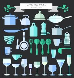 Kitchenware and restaurant glassware icons set vector