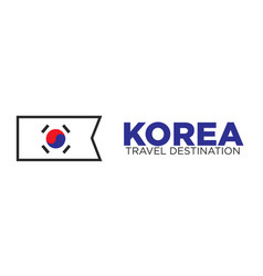 Korean flag and travel destination words vector