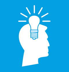 Light bulb idea icon white vector