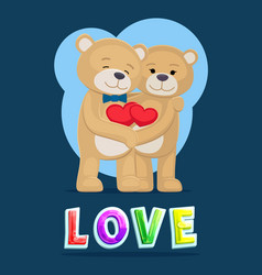 Love bears hugging poster vector