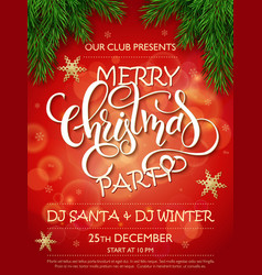 Merry christmas party poster with christmas vector