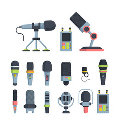 music and television microphones flat vector image