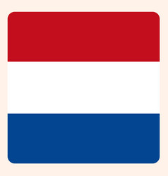 netherlands square flag button social media vector image