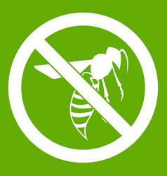 No wasp sign icon green vector