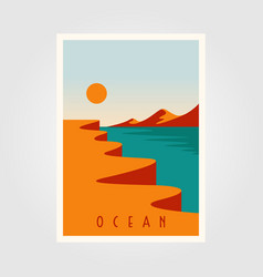 ocean sunset minimalist poster template design vector image